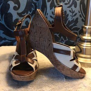 Sbicca cork heel wedge with canvas upper